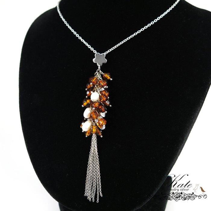 琥珀項鍊  銀飾 葡萄串 天然波蘭琥珀 天然珍珠 花朵墜頭 波羅的海琥珀 925純銀單墜/生日禮物/KATE銀飾