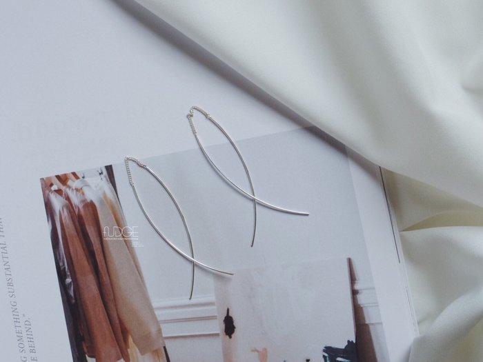 FUDGE法橘 / 正韓  [純銀系列] 優雅圓弧耳線耳環/LS18837