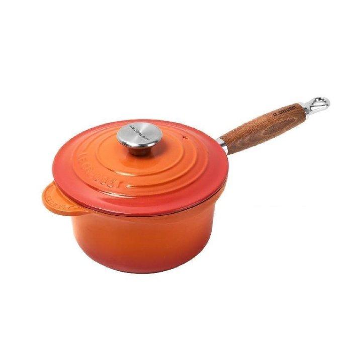 法國 LE CREUSET 木柄淺底鍋 湯鍋 醬汁鍋 18cm 橘色