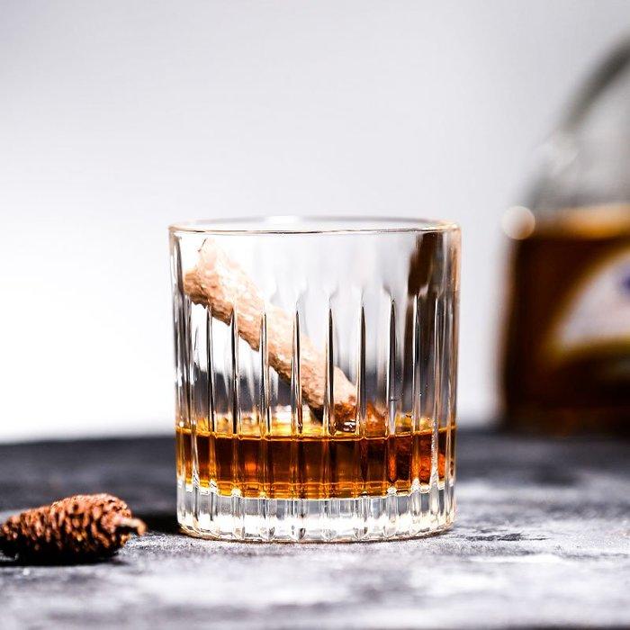 乾一日式條紋威士忌杯 酒吧專用古典雞尾酒杯 復古烈酒杯玻璃洋酒杯子