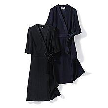 日本三醋酸/重磅抗皺 CBD茶歇五分袖系帶連衣裙