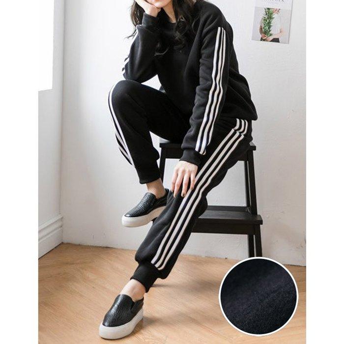 【Hao Da】全館399免運↘「M~XL。現貨」兩件式內磨毛 側線條上衣 + 鬆緊腰縮口褲 (P1203)