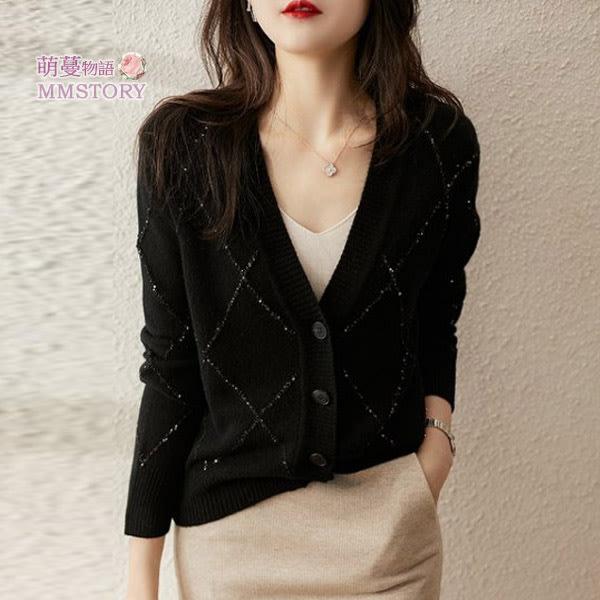 黑色也能很亮眼 菱格亮絲針織毛衣衫  套頭  開衫 萌蔓物語【KX4057】韓氣質女上衣