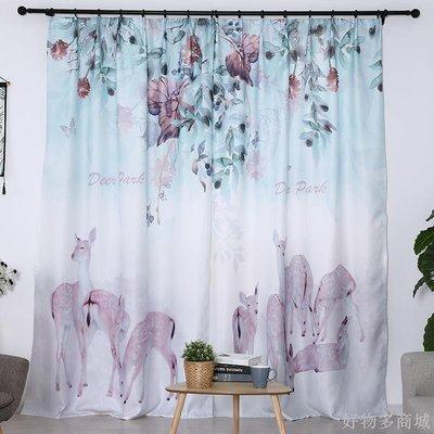 好物多商城 訂製成品窗簾簡約現代田園風臥室客廳飄窗落地窗加厚遮光布掛布