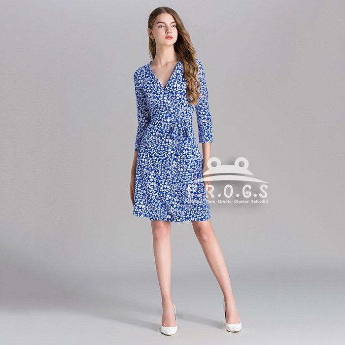 F.R.O.G.S UG1024歐美藍白幸運草印花V領各身形皆適合造型一片裙裹身裙綁帶裙休閒裙修身裙連身裙連衣裙洋裝