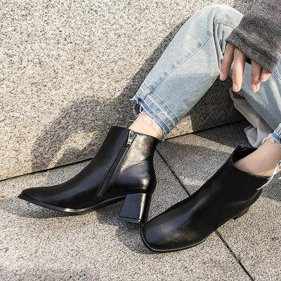 女靴內增高女靴白色女靴子潮牌女靴大尺碼女靴精品女靴大叔家皮面短靴女粗跟新款秋冬方頭側拉鏈顯瘦高跟切爾西靴子