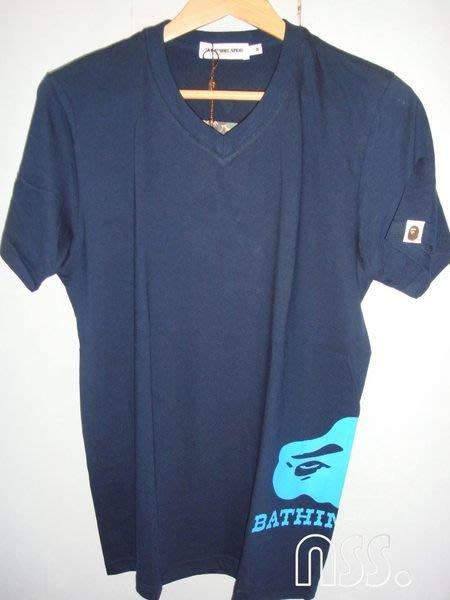 特價【NSS】A BATHING APE BAPE  V領 藍 M號 短T