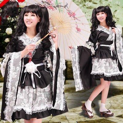 5Cgo【鴿樓】會員有優惠 21221312680 動漫服裝和服式蕾絲洛麗塔洋裝/女仆裝黑白款女裝 動漫角色扮演服Co