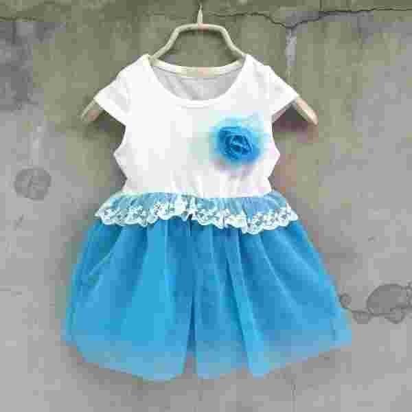 【班比納精品童裝】氣質公主腰蕾絲紗裙洋裝附花別針-藍【BM150205057】