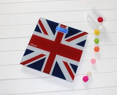 全新超薄180kg-0,05kg強化玻璃 浴室電子磅Digital Bathroom Scale浴室磅 電子秤藍色背光 英國國旗
