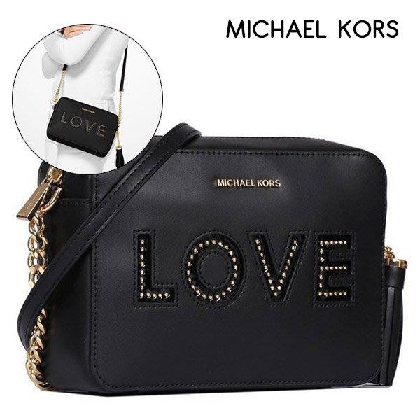 MICHAEL KORS 相機包斜背包MK真皮皮革LOVE(黑)