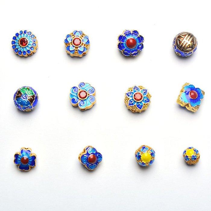 DIY飾品配件 掐絲景泰藍隔珠花片手鏈項鏈配飾批發