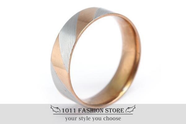 韓國 男性 女性 西德鋼 / 鈦鋼 玫瑰金 條紋戒指 鋼戒 不鏽鋼戒指 / 對戒 jz004-1