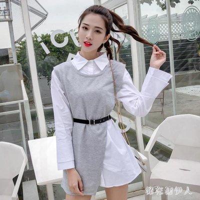中大尺碼兩件式洋裝 新款時尚衛衣馬甲套裝裙韓版POLO領純色襯衣女裝潮 AW14541