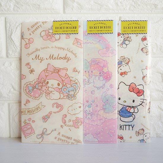 《散步生活雜貨-文具散步》日本製 Square-Sanrio 凱蒂貓/美樂蒂/雙子星 票券收納夾-三款選擇