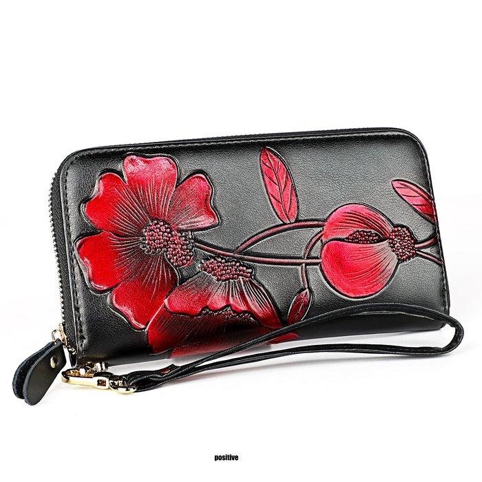 GT0907皮個性潮流帶拉鍊女長夾手拿包錢包黑色