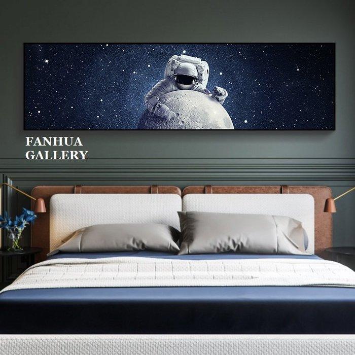 C - R - A - Z - Y - T - O - W - N 太空人宇航員nasa裝飾畫橫版臥室床頭掛畫男孩星空版畫兒童房間裝飾畫