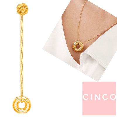 CINCO 葡萄牙精品 Maira necklace 金色甜甜圈項鍊 鑲鑽立體款