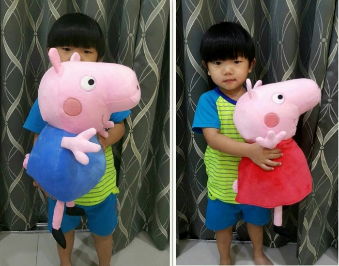 可愛佩佩豬~喬治豬娃娃~40cm~正版授權~PeppaPig 粉紅豬小妹~佩佩豬家族~熱門商品