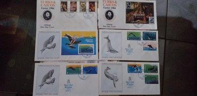 Turks  & Caicos Islands  :1937-1984首日封全不同共32封。目錄價US$115.00特價台幣2000元。