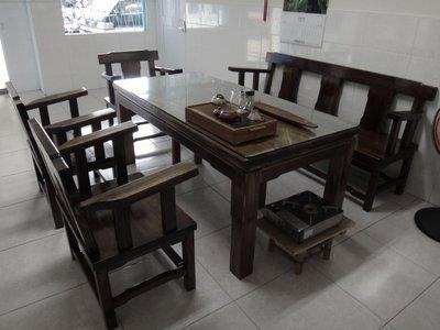 (崙頂傳統原木家具行)AA001杉木客廳整組泡茶桌椅  歡迎自行訂做呎吋