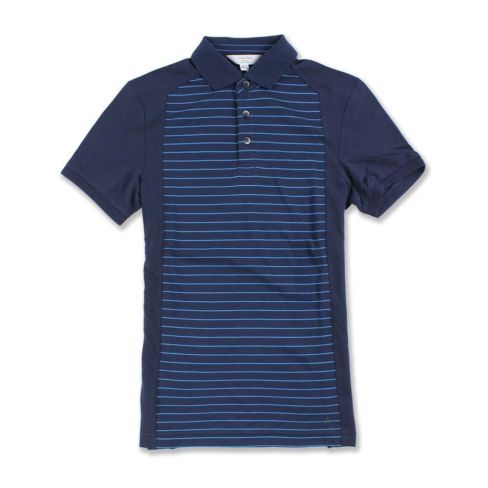 美國百分百【全新真品】Calvin Klein Polo衫 CK 短袖 上衣 棉 條紋 深藍色 XXS S號 G826