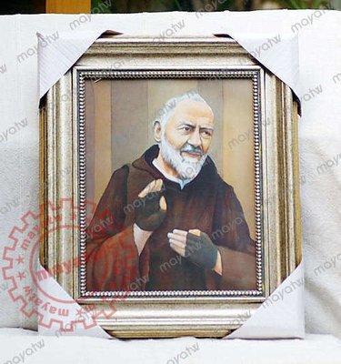 [CHRI-C_095]天主教進口 比約神父義大利進口聖相框畫掛畫