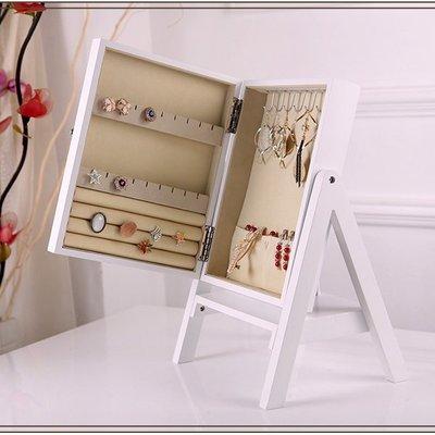 5Cgo【鴿樓】會員有優惠 45066545372 首飾盒歐式公主複古化妝盒木質帶鏡大容量創意韓國飾品架實木