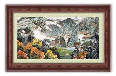 四方名畫:山水畫48X65CM 015 C中尺寸 名家水墨畫 聚財圖 複製油畫  畫質色彩細緻 裝飾畫MIT可訂製尺寸