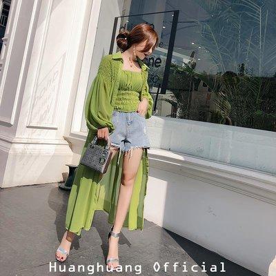 【HH Official】2018新款時尚氣質套裝綠色吊帶抹胸上衣長款防曬衣開衫兩件套女夏