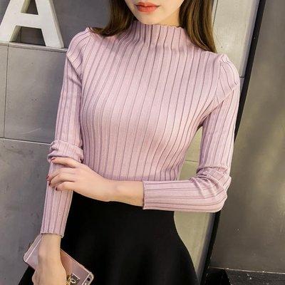 秋冬新款正韓短款半高領毛衣打底衫女長袖套頭修身顯瘦針織打底衫
