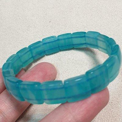 0705 天然 天河石手排 天河石 亞馬遜石 幸運之石 放光 無黑點 尺寸高10mm 厚5mmm 漂亮 放光透料 藍色手排