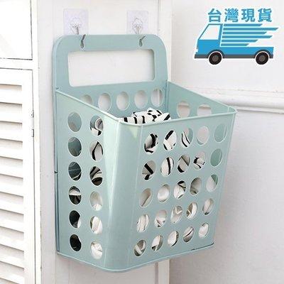 ☜shop go☞ 中 手提 塑料 收納籃 壁掛式 收納筐 浴室 無痕掛鈎 衣簍 髒衣籃 掛式收納籃 【W051】