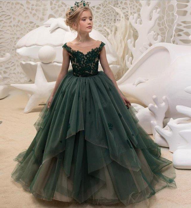 紫滕戀推出墨綠色蕾絲公主裙兒童表演舞會花童裙婚紗拖尾禮服