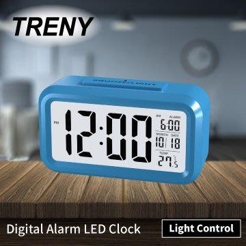 【TRENY直營】LED光控彩色鐘-藍 靜音時鐘 電子鐘 光感鬧鐘 貪睡 聰明鐘 LED鬧鐘 白色背光HD-G-5