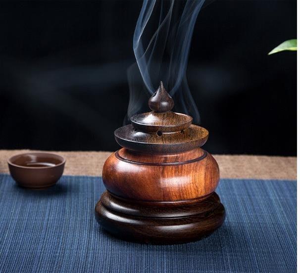 越南黃花梨與雞翅木盤香爐/ 熏香爐 /點香盒 /天壇古韻