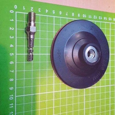 特價-單賣黑底紅邊4吋約10公分自黏式橡膠磨盤(魔鬼氈盤)+專利型 s5.8六角轉接桿 - 讓電鑽有更多功能不含主機喔! 台南市