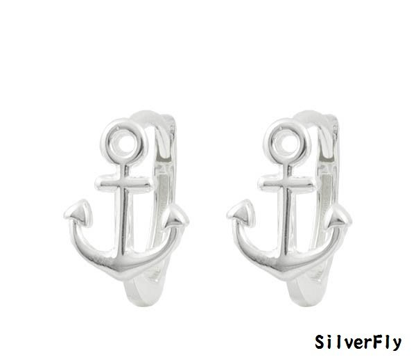 船錨純銀易扣耳環《 SilverFly銀火蟲銀飾 》