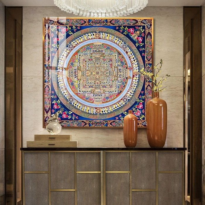 正品潮流唐卡現代輕奢晶瓷畫新中式客廳裝飾畫玄關門廳曼陀羅壇城唐卡招財祈福