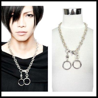 *MINI PUNK LOLO*日本龐克視覺-魔雰囲気の闇教使徒骷髏頭雙扣環龐克造型項鍊(中性.sd22089)