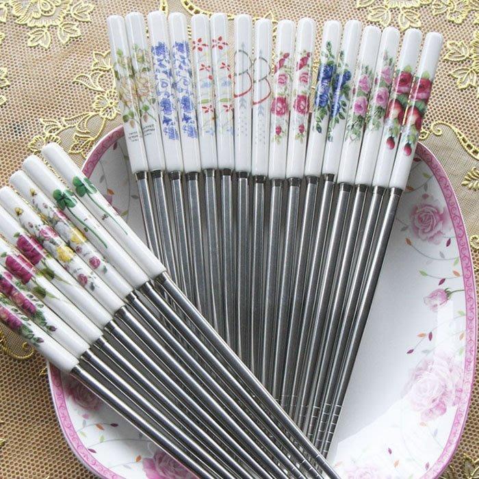 粉紅玫瑰精品屋~韓式玫瑰陶瓷筷子~現貨--不挑款