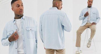◎美國代買◎ASOS有蓋口袋裝飾淺藍刷色經典百搭款復古英倫時尚淺藍口袋牛仔襯衫上衣~歐美街風~大尺碼