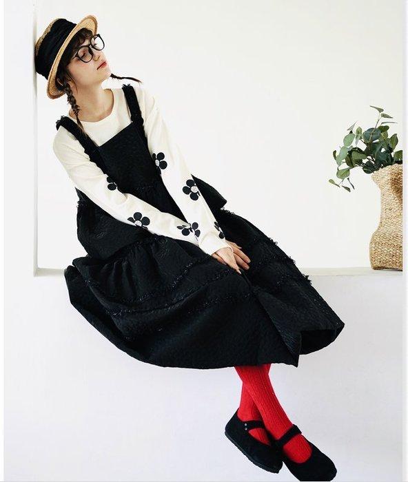 【鈷藍家】甜美個性原創黑色夾薄棉吊帶背心女秋季設計感寬松外穿上衣整件銜縫A字小坎肩疊穿