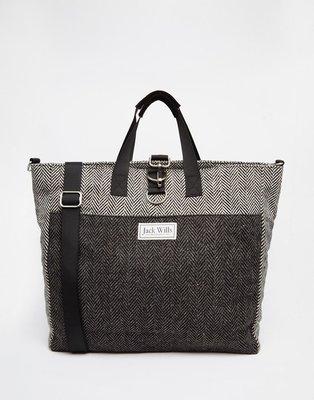 Jack Wills Spurrell Tote Bag 灰色 Logo 棉布 經典 手提包 肩背