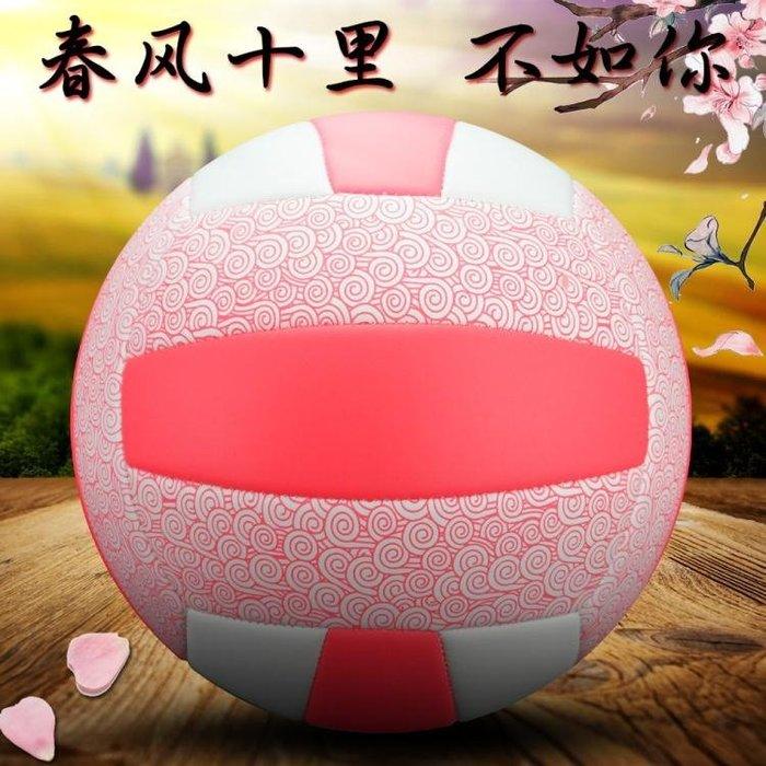 粉色5號軟式排球中考學生專用球女兒童比賽訓練硬排igo