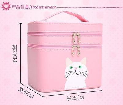 女用化妝箱包專業包大容量少女心萌萌可愛便攜大號雙層收納盒小號品手提化妝箱