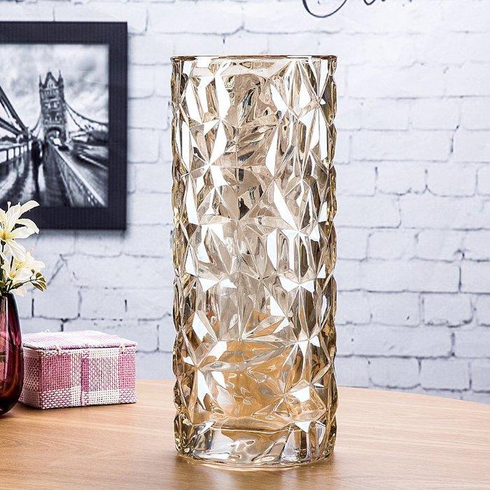 #創意 裝飾品 居家歐式大號玻璃花瓶客廳復古裝飾擺件插花水培富貴竹干花落地花器瓶