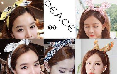 【PEACE33】正韓國空運進口。歐式花紋蕾絲玫瑰碎花 復古寶石星星布藝可調兔耳朵髮帶/髮圈。現+預 限時優惠中