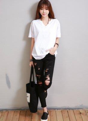 =EZZ=韓國首爾 時尚精品 東大門同步 巴巴菲絲1605 韓版 纯棉寬鬆V領短袖T恤 S碼~2XL碼