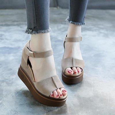 現貨/厚底楔形涼鞋女高跟女士魚嘴鞋中跟厚底學生鬆糕羅馬鞋/海淘吧F56LO 促銷價